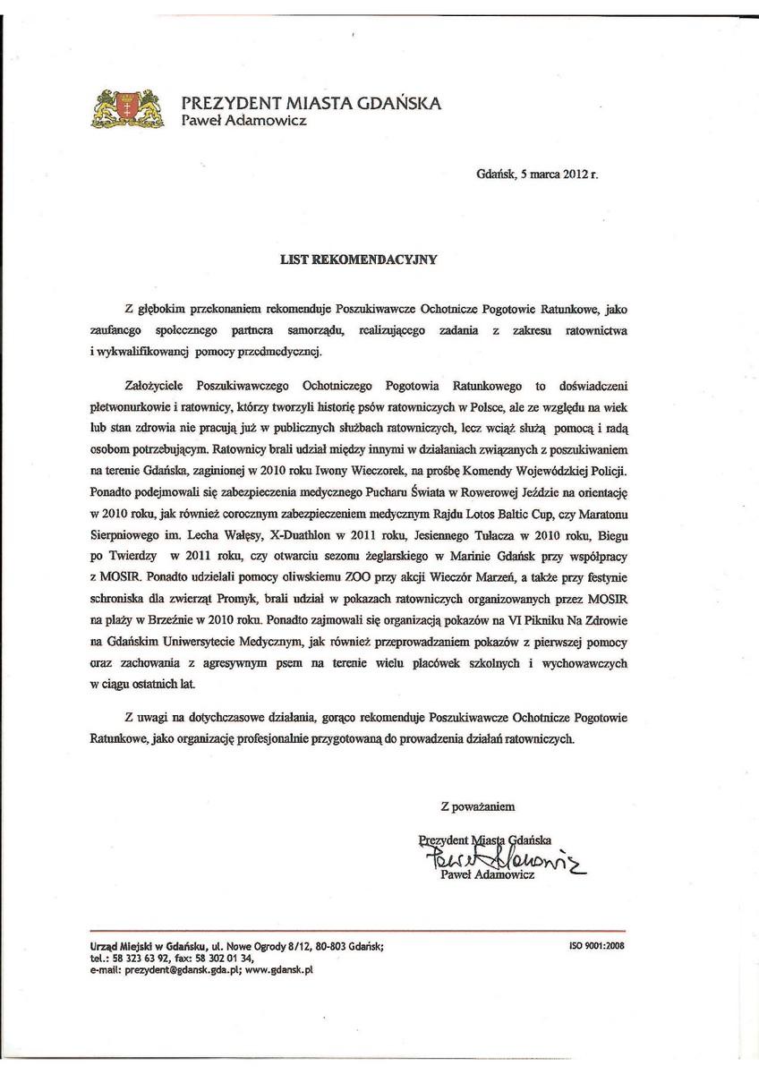 Rekomendacja UM Gdańsk